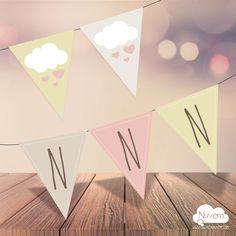 Bandeirola / Varal Nuvem de Amor para Imprimir. Você imprime quantos quiser. Texto editável no .PDF Lindo e prático! >>Ideal para Chá de bebê, batizado, mesversário e aniversário infantil.