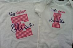 Items similar to Big Sister Little Sister Sibling Shirts on Etsy Big Sister Little Sister, Big Little, Little Sisters, Little Girls, Sibling Shirts, Matching Shirts, Siblings, Heaven, Monogram