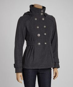 Look what I found on #zulily! Celebrity Pink Charcoal Double-Breasted High-Collar Jacket by Celebrity Pink #zulilyfinds