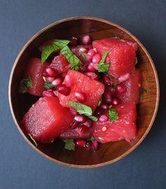 Summer salad - watermelon, pomegranate, mint, lime. Mmmm it might be a bit weird, but worth trying