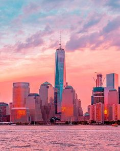Gorgeous sunset from Jersey City reflected on Downton NYC by NYC New York City Travel Honeymoon Backpack Backpacking Vacation New York City, Nyc Skyline, Manhattan Skyline, Jersey City, New Jersey, Dream City, Concrete Jungle, World Trade Center, City Photography
