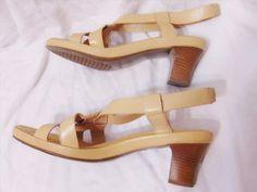 22.00$  Watch now - http://viyeu.justgood.pw/vig/item.php?t=4qe6mgr0413 - AEROSOLES Womens Strappy Slingback Chunky High Heel Shoes Sz 9B(M) Beige Leather