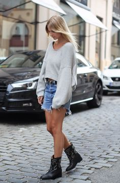 Cutoffs + cozy knit.