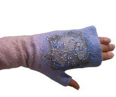 Long felted fingerless gloves, arm warmers, fingerless mittens blue with grey by KMfeltdesign on Etsy https://www.etsy.com/listing/167019367/long-felted-fingerless-gloves-arm