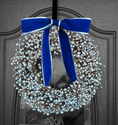 Elegant Silver Berry Wreath with Blue Velvet/silver edged ribbon!  Three sizes available as well as more ribbon choices!