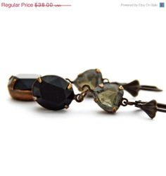 SALE Black Diamond Swarovski Earrings Vintave by JewelryByMagda, $30.40