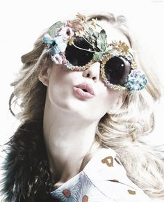 Jennifer Pugh for West East wears Mercura NYC garden rose sunglasses with Prince