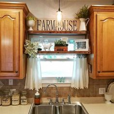 Home Decor Kitchen 68 DIY Farmhouse Kitchen Cabinets Makeover Ideas.Home Decor Kitchen 68 DIY Farmhouse Kitchen Cabinets Makeover Ideas Kitchen Window Shelves, Farmhouse Kitchen Curtains, Farmhouse Kitchen Cabinets, Country Farmhouse Decor, Farmhouse Ideas, Kitchen Countertops, Modern Farmhouse, Kitchen Window Decor, Kitchen Window Curtains