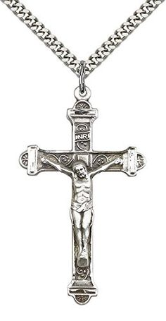 vWORLDBIZJewelry for Men s Christmas Gift · Sterling Silver Crucifix Pendant  with 24 Stainless Silver Heavy Curb Chain     For more 8bd3727e5475