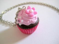 Chocolate cupcake necklace with strawberry cream by TheFaidrinBear, €11.69