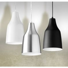 CENTRO Type: Pendant light Material & Colour: White, black or aluminium finish Dimensions:  280mm High x 170mm Diam. Drop: 1500mm Bulb: E27 60W max, ESL or LED x 1  RRP: $120.00