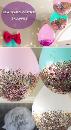 New Years Glitter Balloons | Click Pick for 23 Last Minute New Years Eve Party Ideas | Fun New Years Eve Party Ideas For Adults