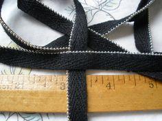 "Tiny Silver Ball Chain sewn on black twill tape ribbon 3/8"" yardage cool hanger trim edging zipper crafts cordedge lip cord choose yards"