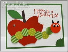 Matching 1st birthday card, Large tag for gift bag, punch art, Very Hungry Catepillar, Stampin' Up!, #stampinup, Circle Heart Framelits, Oval punch, Connie Babbert, www.inkspiredtreasures.com. More pictures from the party on my blog (June 15, 2014)