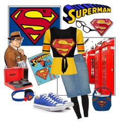 """""""superman FAN!!!!!"""" by dee94 ❤ liked on Polyvore featuring Agent Ninetynine, Current/Elliott, Fox, Warby Parker, Converse, Crosley and superman"""