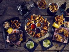 Tex-Mex Combo with Chicken Wings, Onion Rings an Fries. A great sharing dish for the table
