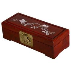 Mother of Pearl and Sienna-Red Wood Box