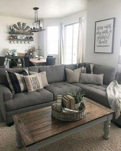#RoomWallDecor Big Living Rooms, Living Room Grey, Living Room Sofa, Living Room Furniture, Small Living, Sofa Design, Modern Farmhouse Living Room Decor, Farmhouse Style, Farmhouse Ideas