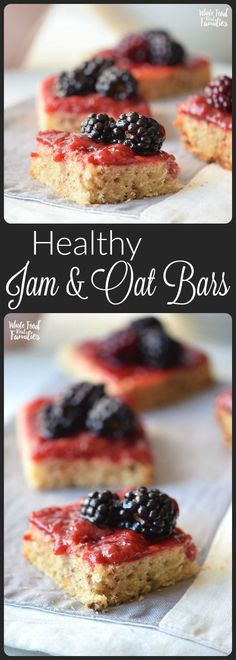 Jam and Oat Bars never last long! They are a perfect healthy quick snack or even breakfast. Equally awesome is that they only take a second to whip up and pop in the oven! Try them with your favorite nut butter instead of jam as an alternative! Baking Recipes, Whole Food Recipes, Cookie Recipes, Snack Recipes, Dessert Recipes, Family Recipes, Dessert Bars, Brunch Recipes, Family Meals