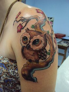 Cute Owl On Rose Branch Tattoo photo - 1