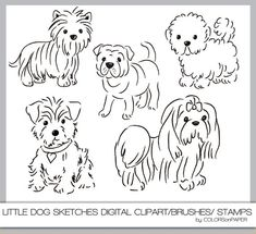 Photoshop Brushes and Digital Stamps. Dog Clip Art, Dog Art, Scrapbooking Digital, Digital Stamps, Dibujos Cute, Fluffy Dogs, Dog Tattoos, Little Dogs, Clipart