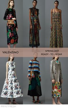 Spring 2017 Ready-to-wear Runway Print & Pattern Trends- Valentino Images: vogue.com bold tribal print mixed with conversational elements