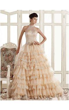 A-line High Neck Court Train Organza Wedding Dress