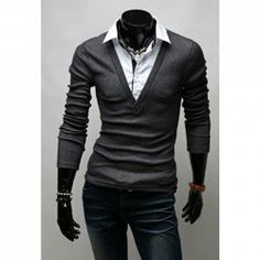 Wholesale Korean Faux Twinset Shirt Collar Long Sleeve T-Shirt For Men (DEEP GRAY,L), T-shirts - Rosewholesale.com