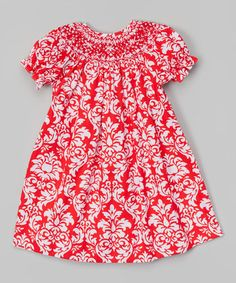 Look what I found on #zulily! Red Damask Bishop Dress - Infant & Toddler #zulilyfinds