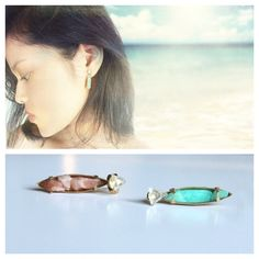 Pink Moon Stone and Blue Ocean Debris Mismatched Earrings