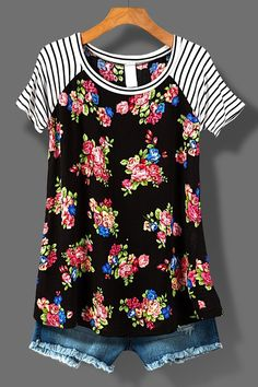 Floral with stripe sleeve