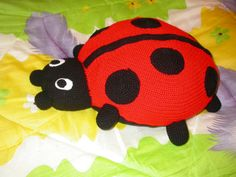 Big crochet ladybug pillow by Crochetcraftshop on Etsy, $270.00
