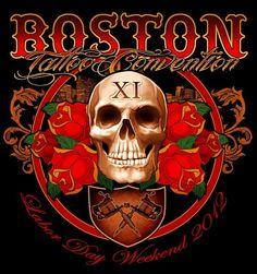 Tattoo art for the Boston tattoo convention. Boston Tattoo, Tattoo Posters, Tattoo Expo, Tattoo People, Chicano, Retro, Vintage Signs, Body Art Tattoos, Tattoo Artists