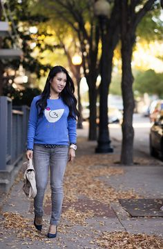 cute & little blog   j. crew french hen sweater, polka dot shirt, gray jeans outfit   fall layering by kileencheng, via Flickr