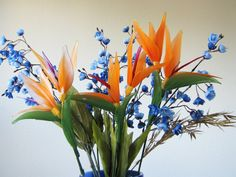 Nylon flower Bird of Paradise Arrangement  by BlissWondersFloral, $99.00