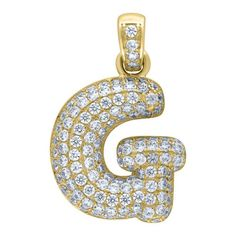 """Yellow Gold Iced Out Cubic Zirconia Mens Womens Bubble Initial Letter """"G"""" Charm PendantItem Number - from Yellow GoldWidth: inches ; Length: inchesGift box Yellow Gold Iced Out Cz Mens Womens Bubble Initial Letter """"G"""" Charm Pendant Letter G, Initial Letters, Chakra Heilung, Letter Pendants, Bubbles, Charmed, Yellow, Metal, Stuff To Buy"""