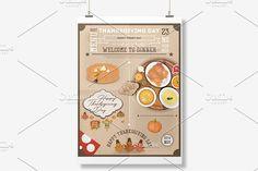 Thanksgiving Dinner Menu Card by elfivetrov on @creativemarket
