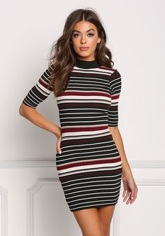 Black and White Stripe Ribbed Knit Bodycon Dress - Dresses Fall Fashion Trends, Autumn Fashion, Love Culture, Junior Outfits, Stripe Print, Half Sleeves, Striped Dress, Bodycon Dress, Black And White