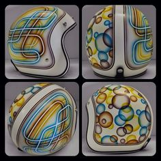 10 Custom Helmets from Chemical Candy Customs that I love, and you will too. Haven& heard of chemical candy? Custom Motorcycle Helmets, Custom Helmets, Biker Helmets, Motorcycle Paint, Women Motorcycle, Pinstriping, Helmet Head, Helmet Paint, Air Brush Painting