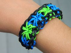 Rainbow loom starburst rubber band bracelet by TheHappyRooster, $6.00