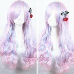 Kawaii Hairstyles, Pretty Hairstyles, Wig Hairstyles, Anime Wigs, Anime Hair, Pastel Wig, Kawaii Wigs, Headband Wigs, Fantasy Hair