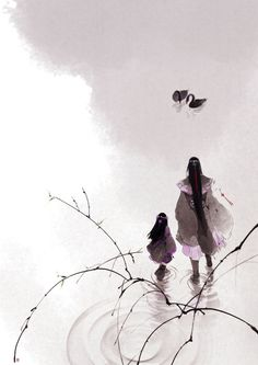 by Chinese illustrator Ibuki Satsuki 伊吹五月. Art Manga, Anime Art, Chinese Painting, Chinese Art, Chinese Brush, Chinese Style, Asian Artwork, Art Japonais, Art Graphique