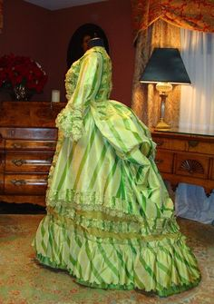 """Acid Apple Green 1872 Paris Gown Museum Deaccession Knockout   eBay seller 54skylark; Silk still somewhat supple; written in interior of dress: Mrs. Charles R. Fisher/1872.  Also written that it is a """"Paris gown"""""""