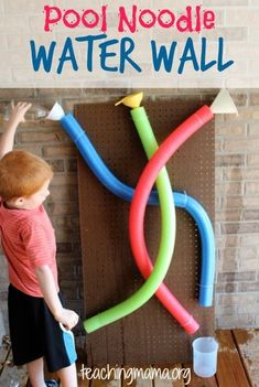Pool Noodle Water Wall - easy to make and keeps kids busy! Great way to stay cool during the summer! #daycaretips