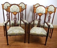High Back Chairs, 4 Dining Chairs, Art Nouveau Furniture, Antiques For Sale, Antique Photos, Fabric, Goodies, Things To Sell, Places
