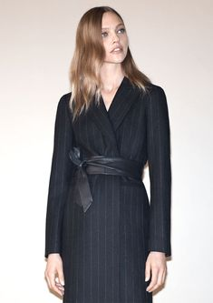 Sasha Pivovarova wears pinstripe coat for 2016 lookbook