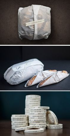 // Breadshop / Designed by NAAUAO, Kaneohe, Hawaii, USA // washi tape logo packaging Sandwich Packaging, Bread Packaging, Bakery Packaging, Food Packaging Design, Branding Design, Bakery Branding, Logo Branding, Takeaway Packaging, Coffee Packaging