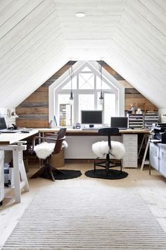 Fabulous Useful Tips: Attic Bedroom Remodel Loft Conversions bedroom remodel ideas for girls.Attic Bedroom Remodel bedroom remodeling before and after. Home Office Design, Home Office Decor, House Design, Home Decor, Office Furniture, Office Designs, Attic Furniture Ideas, Office In Bedroom Ideas, Bonus Room Office