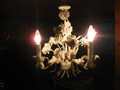 CHARMINGVINTAGE CHIC pure white 3 light tole by BrokenMoonAntiques