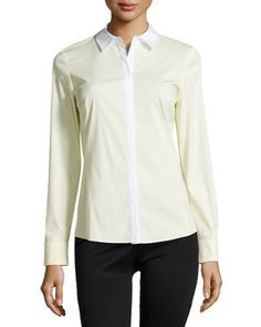 Lafayette 148 New York Rula Contrast-Trim Blouse, Lemon Sorbet New offer @@@ Price :$328 Price Sale $141.75
